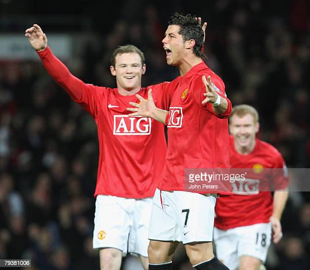 Cristiano Ronaldo of Manchester United celebrates scoring his team's second goal during the Barclays FA Premier League match between Manchester...