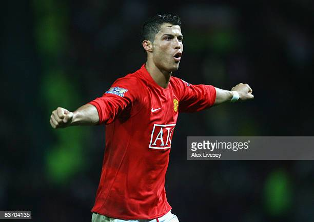 Cristiano Ronaldo of Manchester United celebrates scoring his team's fifth goal during the Barclays Premier League match between Manchester United...
