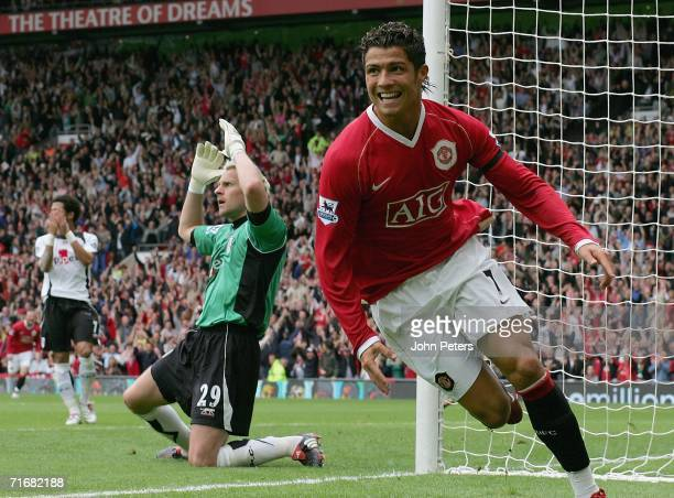 Cristiano Ronaldo of Manchester United celebrates scoring the fourth goal during the Barclays Premiership match between Manchester United and Fulham...