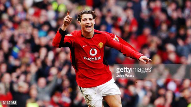 Cristiano Ronaldo of Manchester United celebrates scoring the second goal of the FA Barclaycard Premiership match between Manchester United and...