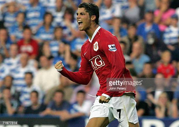 Cristiano Ronaldo of Manchester United celebrates scoring the second goal during the Barclays Premiership match between Reading and Manchester United...