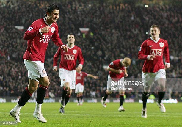 Cristiano Ronaldo of Manchester United celebrates scoring the second goal during the Barclays Premiership match between Manchester United and Wigan...