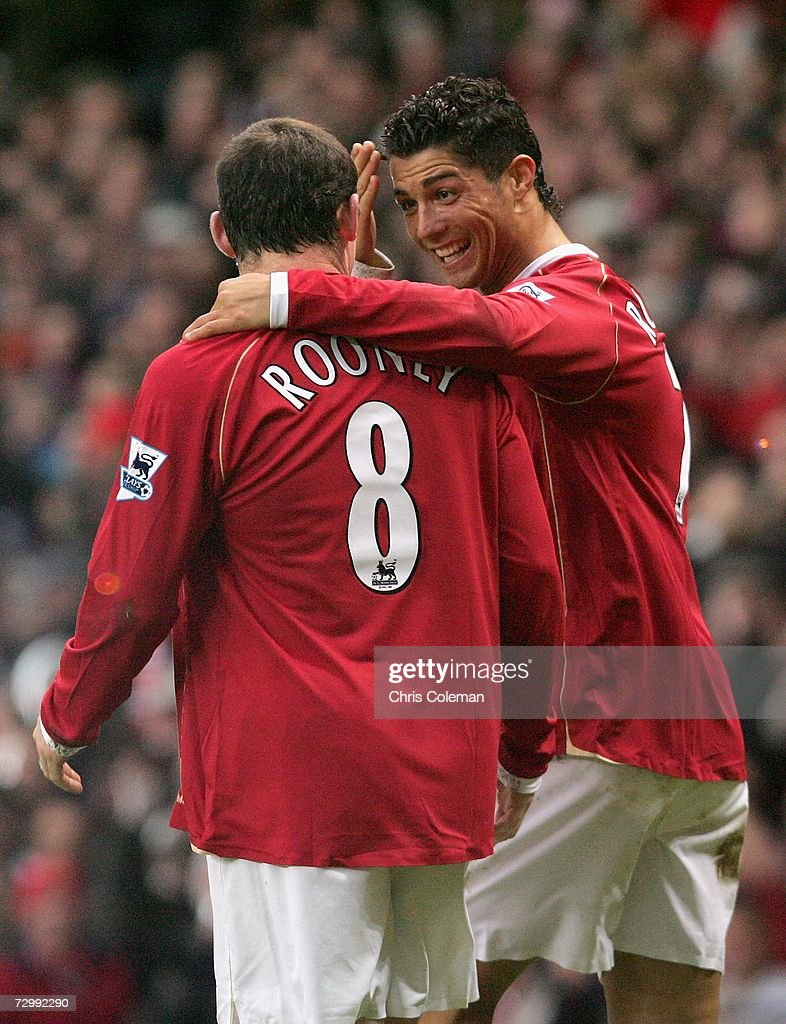 Cristiano Ronaldo of Manchester United celebrates scoring the third goal during the Barclays Premiership match between Manchester United and Aston Villa at Old Trafford on January 13 2007 in Manchester, England.