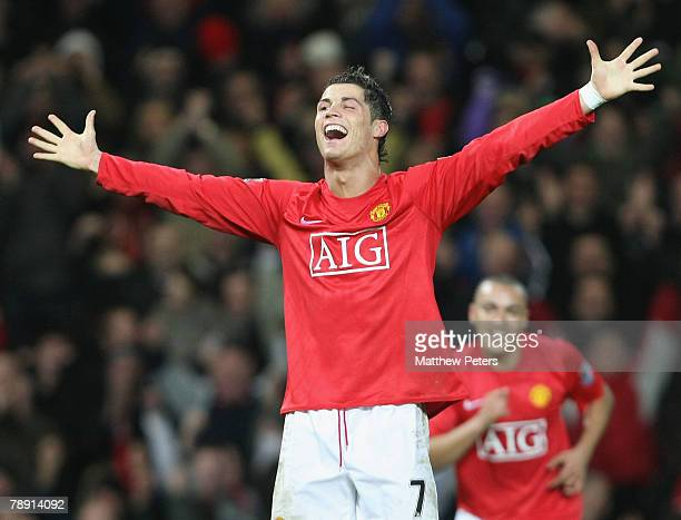 Cristiano Ronaldo of Manchester United celebrates scoring their fifth goal during the Barclays FA Premier League match between Manchester United and...
