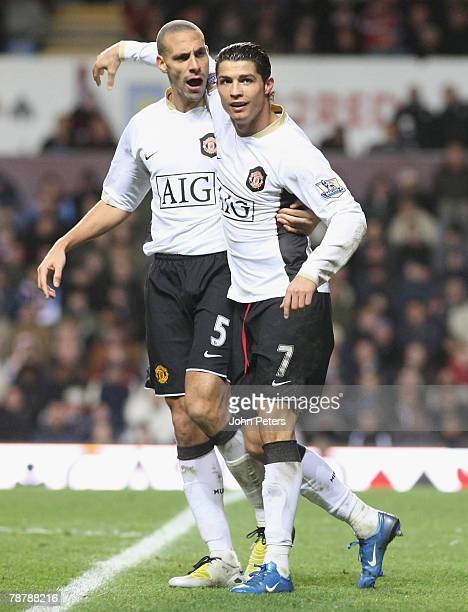 Cristiano Ronaldo of Manchester United celebrates scoring their first goal during the FA Cup sponsored by eon Third Round match between Aston Villa...