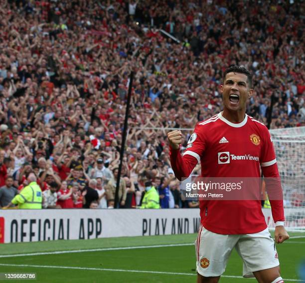 Cristiano Ronaldo of Manchester United celebrates scoring their second goal during the Premier League match between Manchester United and Newcastle...