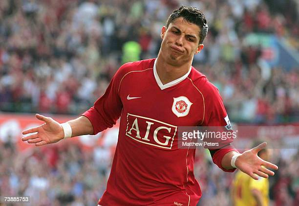 Cristiano Ronaldo of Manchester United celebrates scoring their second goal during the FA Cup sponsored by E.ON Semi-final match between Watford and...