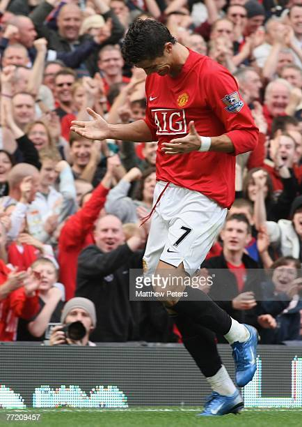 Cristiano Ronaldo of Manchester United celebrates scoring their second goal during the Barclays FA Premier League match between Manchester United and...