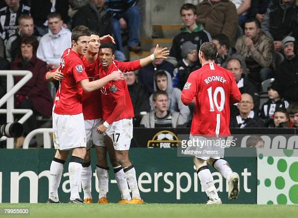 Cristiano Ronaldo of Manchester United celebrates scoring their second goal during the Barclays FA Premier League match between Newcastle United and...