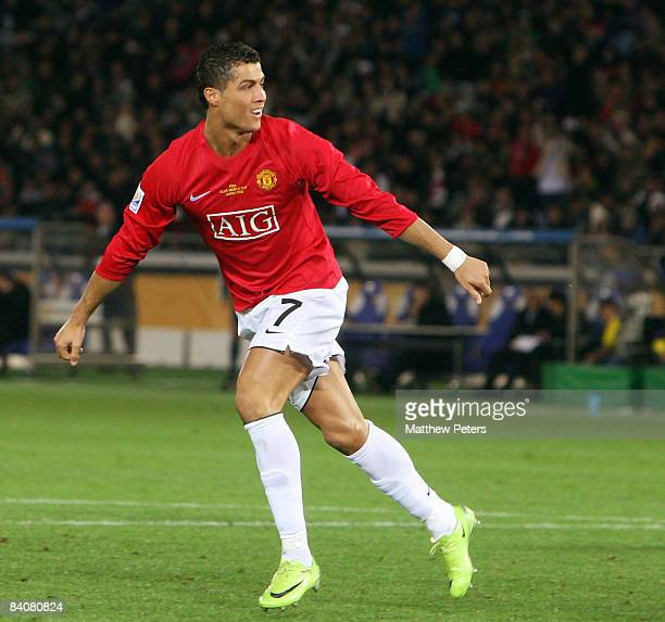 Cristiano Ronaldo of Manchester United celebrates scoring their second goal during the FIFA World Club Cup SemiFinal match between Gamba Osaka and...