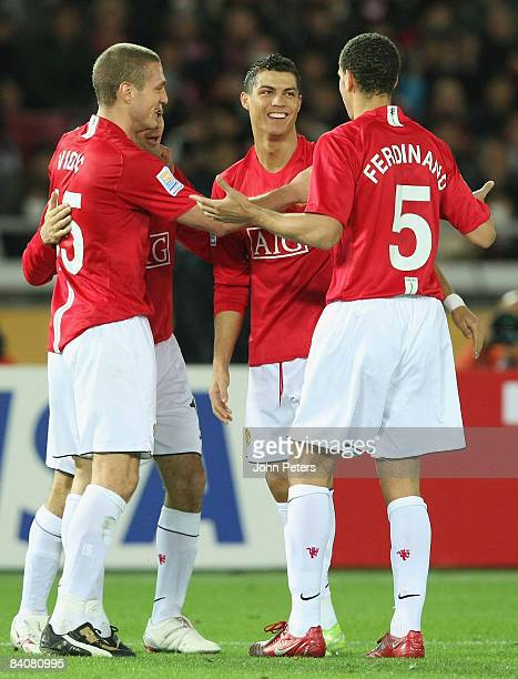 Cristiano Ronaldo of Manchester United celebrates scoring their second goal during the FIFA World Club Cup Semi-Final match between Gamba Osaka and...