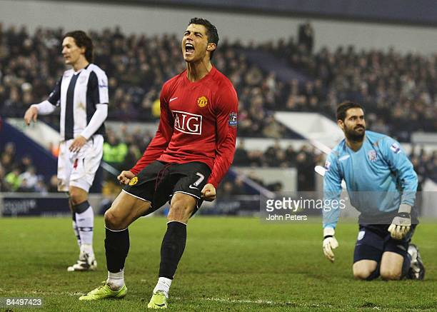 Cristiano Ronaldo of Manchester United celebrates scoring their fourth goal during the Barclays Premier League match between West Bromwich Albion and...