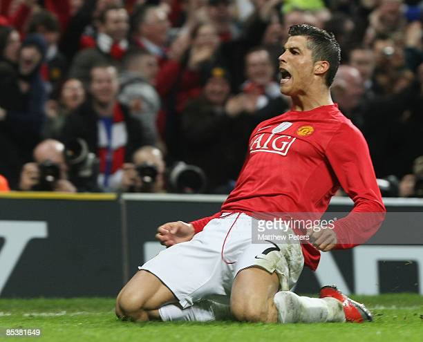Cristiano Ronaldo of Manchester United celebrates scoring their second goal during the UEFA Champions League First Knockout Round Second Leg match...