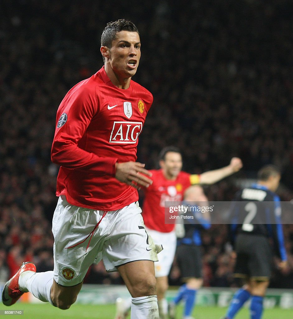Cristiano Ronaldo of Manchester United celebrates scoring their second goal during the UEFA Champions League First Knockout Round Second Leg match between Manchester United and Inter Milan at Old Trafford on March 11 2009 in Manchester, England.