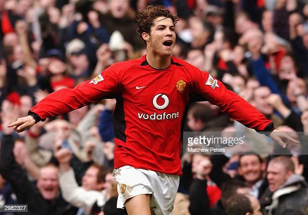 Cristiano Ronaldo of Manchester United celebrates scoring their third goal during the AXA FA Cup match between Manchester United and Manchester City...