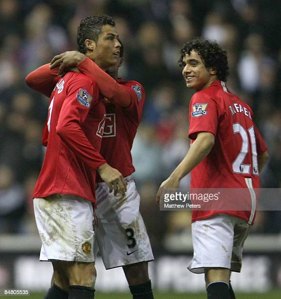 Cristiano Ronaldo of Manchester United celebrates scoring their third goal during the FA Cup sponsored by eon Fifth Round match between Derby County...