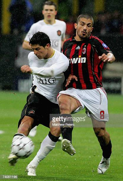 Cristiano Ronaldo of Manchester United clashes with Gennaro Gattuso of AC Milan during the UEFA Champions League SemiFinal Second Leg match between...