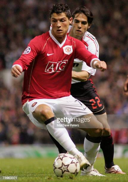 Cristiano Ronaldo of Manchester United clashes with Kaka of AC Milan during the UEFA Champions League SemiFinal first leg match between Manchester...