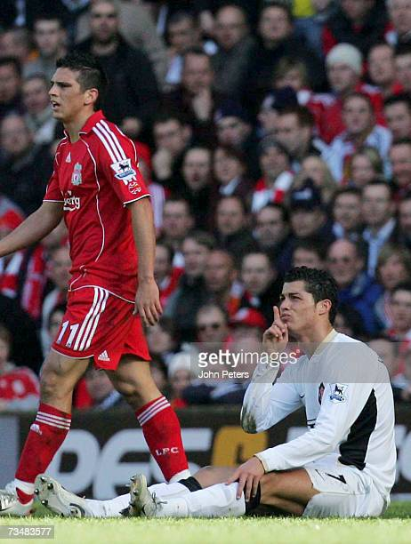 Cristiano Ronaldo of Manchester United clashes with Mark Gonzalez of Liverpool during the Barclays Premiership match between Liverpool and Manchester...