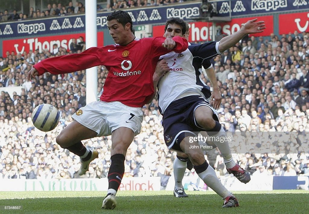 Cristiano Ronaldo of Manchester United clashes with Paul Stalteri of Tottenham Hotspur during the Barclays Premiership match between Tottenham Hotspur and Manchester United at White Hart Lane on April 17 2006 in London, England.