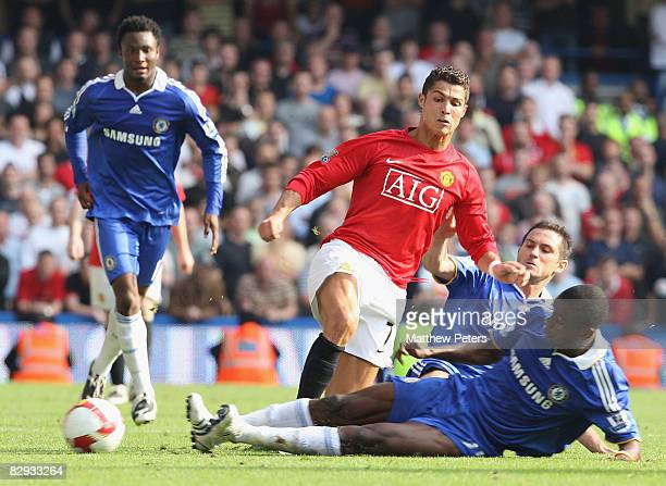 Cristiano Ronaldo of Manchester United clashes with Salomon Kalou of Chelsea during the FA Premier League match between Chelsea and Manchester United...