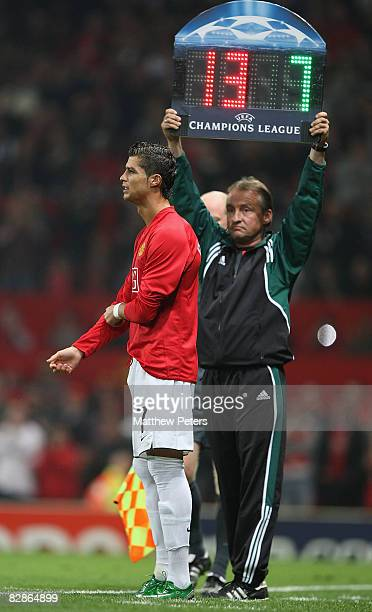 Cristiano Ronaldo of Manchester United comes on as a substitute during the UEFA Champions League match between Manchester United and Villarreal at...