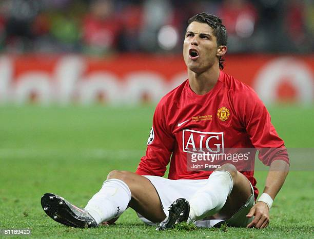 Cristiano Ronaldo of Manchester United complains to the refereee during the UEFA Champions League Final match between Manchester United and Chelsea...