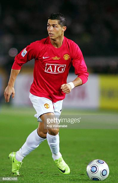 Cristiano Ronaldo of Manchester United controls the ball during the FIFA Club World Cup Japan 2008 semi final match between Gamba Osaka and...