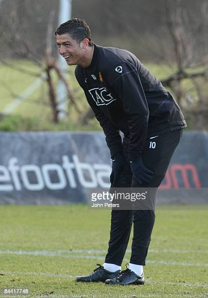 Cristiano Ronaldo of Manchester United during a first team training session at Carrington Training Ground on January 23 2009 in Manchester England