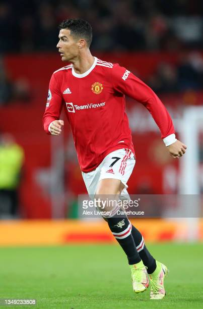 Cristiano Ronaldo of Manchester United during the Premier League match between Manchester United and Liverpool at Old Trafford on October 24, 2021 in...