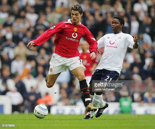 Cristiano Ronaldo of Manchester United evades Mbulelo Mabizela of Tottenham Hotspur during the Barclays Premiership match between Tottenham Hotspur...
