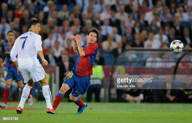 Cristiano Ronaldo of Manchester United FC and Lionel Messi of Barcelona during the UEFA Champions League Final match between Barcelona and Manchester...