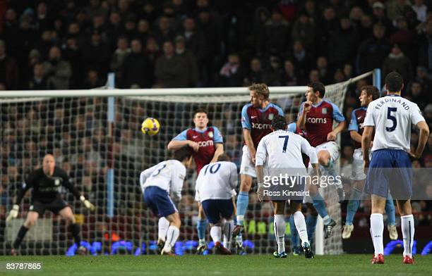 Cristiano Ronaldo of Manchester United fires a free kick towards the Aston Villa goal during the Barclays Premier League match between Aston Villa...