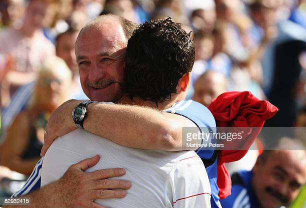 Cristiano Ronaldo of Manchester United greets Chelsea manager Luiz Felipe Scolari ahead of the FA Premier League match between Chelsea and Manchester...