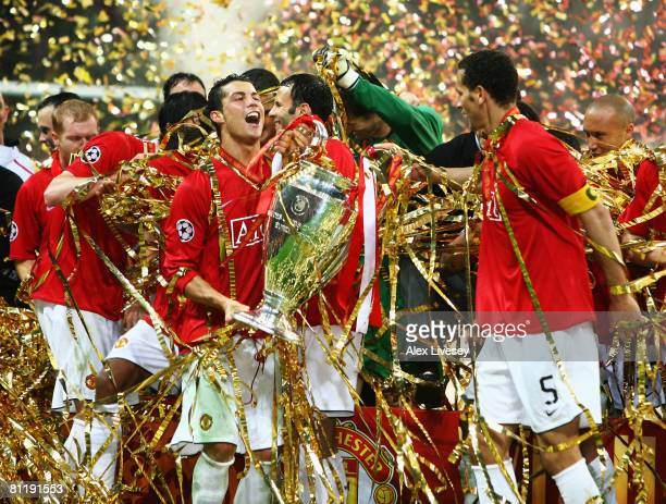 Cristiano Ronaldo of Manchester United holds the trophy during the UEFA Champions League Final match between Manchester United and Chelsea at the...