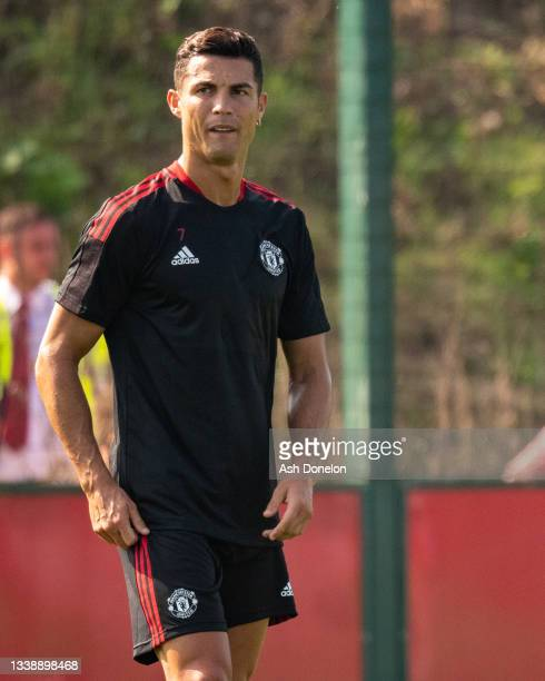 Cristiano Ronaldo of Manchester United in action during a first team training session at Carrington Training Ground on September 07, 2021 in...