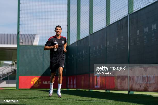 Cristiano Ronaldo of Manchester United in action during a first team training session at Carrington Training Ground on September 08, 2021 in...