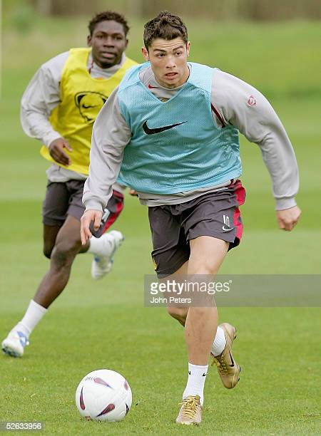 Cristiano Ronaldo of Manchester United in action during a first team training session at Carrington Training Ground on 15 April 2005 in Manchester...
