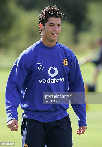 Cristiano Ronaldo of Manchester United in action during a first team training session at Carrington Training Ground on August 19 in Manchester England