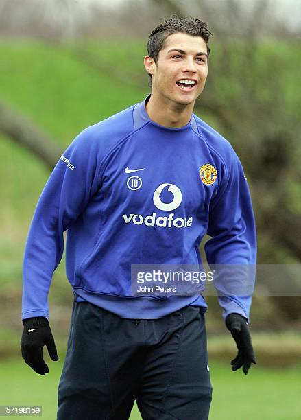 Cristiano Ronaldo of Manchester United in action during a first team training session at Carrington Training Ground on March 28 2006 in Manchester...