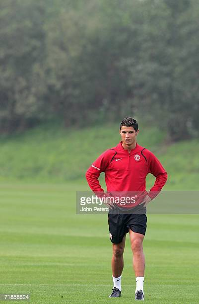 Cristiano Ronaldo of Manchester United in action during a first team training session at Carrington Training Ground on September 12 2006 in...