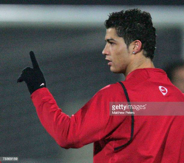 Cristiano Ronaldo of Manchester United in action during a first team training session ahead of their UEFA Champions League match against Lille at Le...