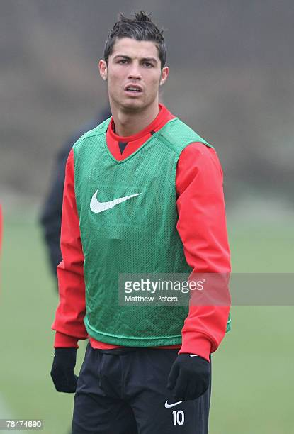 Cristiano Ronaldo of Manchester United in action during a First Team training session at Carrington Training Ground on December 14 2007 in Manchester...