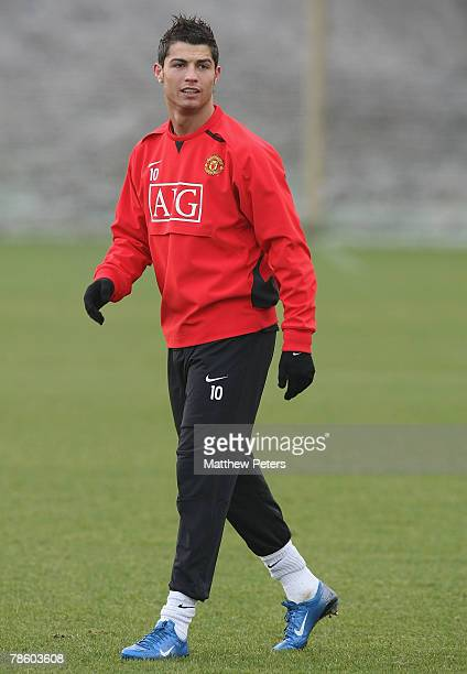 Cristiano Ronaldo of Manchester United in action during a First Team Training Session at Carrington Training Ground on December 21 2007 in Manchester...