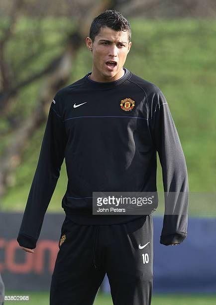 Cristiano Ronaldo of Manchester United in action during a First Team Training Session at Carrington Training Ground on November 24 2008 in Manchester...