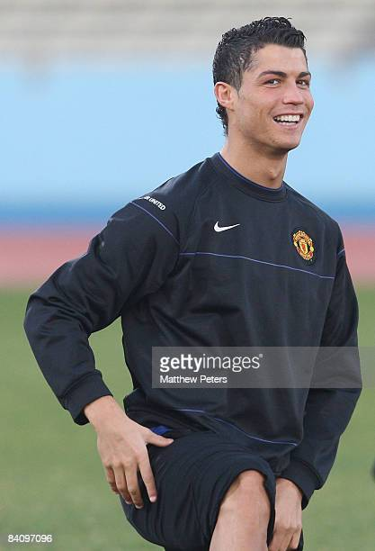 Cristiano Ronaldo of Manchester United in action during a First Team Training Session ahead of the World Club Cup Final at Todoriki Kawasaki Stadium...