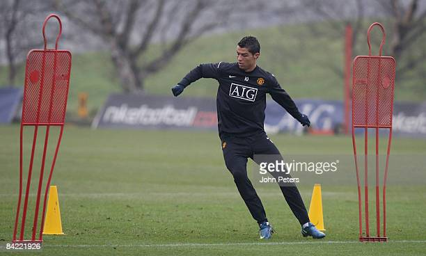 Cristiano Ronaldo of Manchester United in action during a First Team Training Session at Carrington Training Ground on January 9 2009 in Manchester...