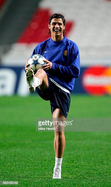 Cristiano Ronaldo of Manchester United in action during a Manchester United training session at the Stadium of Light on December 6 2005 in Lisbon...