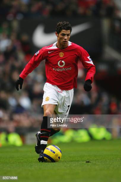 Cristiano Ronaldo of Manchester United in action during the Barclays Premiership match between Manchester United and Aston Villa at Old Trafford on...