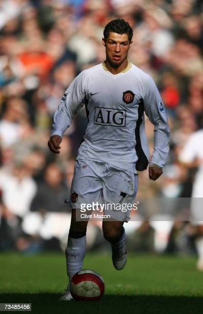 Cristiano Ronaldo of Manchester United in action during the Barclays Premiership match between Liverpool and Manchester United at Anfield on March 3...